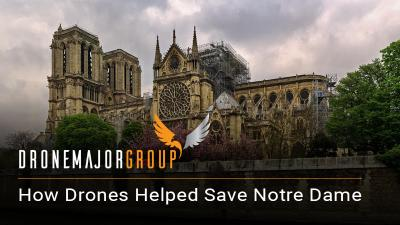 white background photo of notre dame with air drone pictured